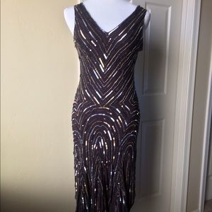 Dresses & Skirts - Brown Silk & Sequin Evening Dress